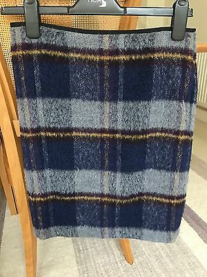 Marks & Spencer Collection Wool Mix Check Skirt Size 8