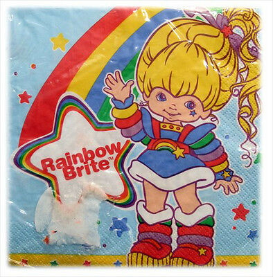 RAINBOW BRITE LUNCH NAPKINS (16) ~ Vintage Birthday Party Supplies Dinner Large