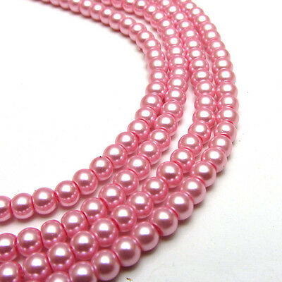 New 6MM 100pcs Charm Round  Beads Glass Spacer Pearls Pink Color