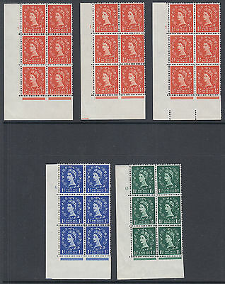 Great Britain SG 570-572 MNH. 1958-60 Wilding, 5 diff Cylinder Blocks of 6