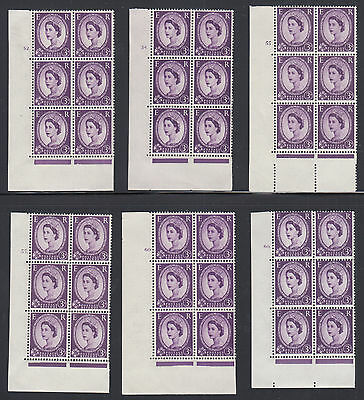 Great Britain SG 575 MNH. 1958 3p Wilding issues, 12 diff Cylinder Blocks of 6