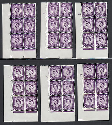 Great Britain SG 575 MNH. 1958 3p Wilding issues, 7 diff Cylinder Blocks of 6