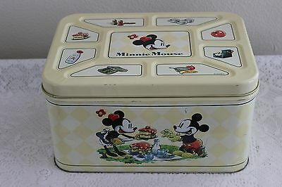 """Disney 1998 Minnie & Mickey Mouse Cake / Bread Tin Box """" I Made It For You"""""""