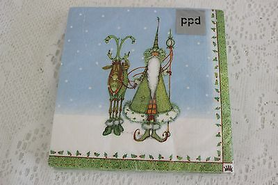 """Krinkles Patience Brewster Christmas 6.5"""" Sq Paper Napkins """"sharing The Spirit"""""""