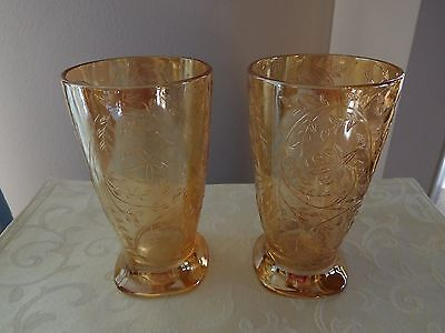 Depression Jeannette Glass Floragold Louisa Iridescent Footed 10 Oz Tumblers 2