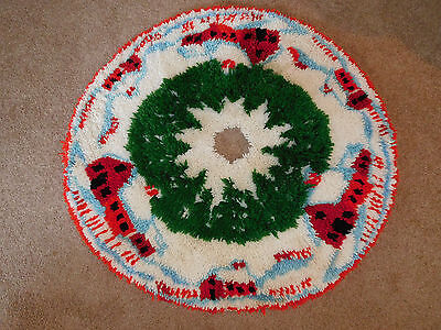 Vintage Hand Made Latch Hook ChristmasTree Skirt Barns Trees Snow COMPLETED