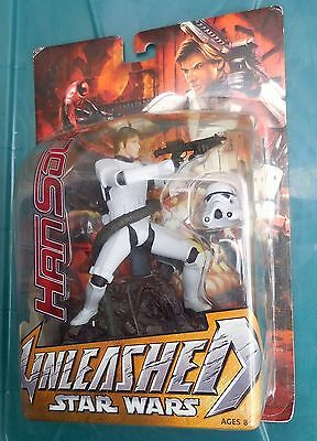 STAR WARS 2004/5 Large Unleashed Figures:  HAN SOLO as STORMTROOPER, New on Card