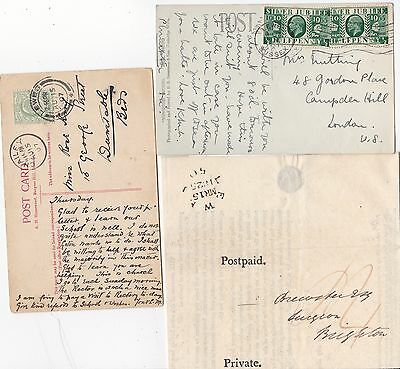 1825/1935 3 Postal History Items Lewes & Chailey Sub Office - Sussex - Insurance