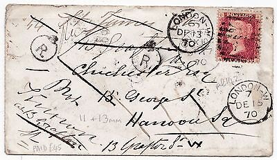 1870 MULTI LONDON CDS RARE 1d PLATE 142 COVER 2 DIFF CROWN R IN CIRCLE 11 & 13mm