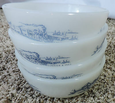 Royal China Lot of 4 Currier & Ives Milk Glass Train Scene Cereal Bowls