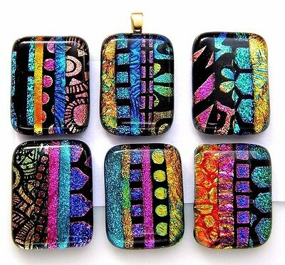 Lot 6 pcs RECTANGLE multi color DICHROIC FUSED GLASS pendant (i18) CABOCHON