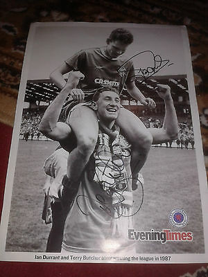 Rangers HAND SIGNED 12''X 8'' Evening Times nostalgia photo