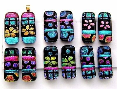 For dangle earrings Lot 12 pcs HANDMADE pendant DICHROIC FUSED GLASS (L2) CAB
