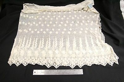 S Antique Estate Textile Lace Seamstress 1800s Tulle Skirt Geometric Greek #15