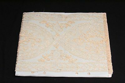 S Antique Estate Textile Lace Seamstress Gold Colored Lace Runner 2 1/3 Yds #24