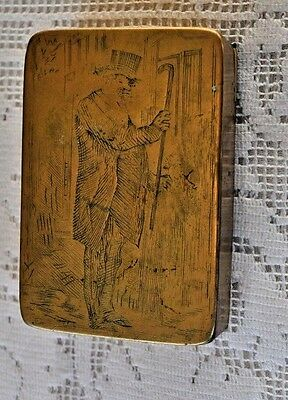 Antique Brass Snuff Box Detailed Engraving
