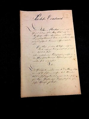 ANTIQUE GERMAN CONTRACT  1842                8 pages