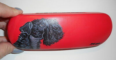 Kerry Blue Terrier Dog Hand Painted Eyeglass case Simulated Leather