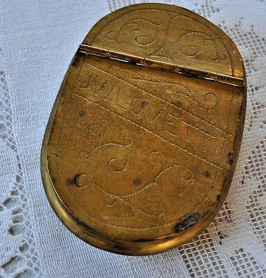 Antique Brass Snuff Box Hinged Lid with Engraving