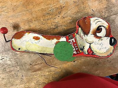 fuzzy wood dog pull toy #444 fisher-price