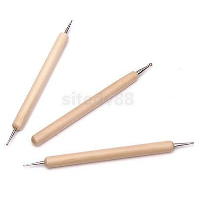 3Pcs Ball Styluses Tool Set for Embossing Pattern Wax Clay Sculpting New