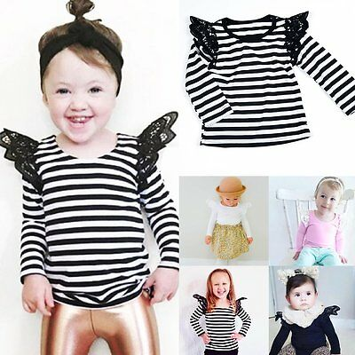 Newborn Toddler Kids Baby Girls Long Sleeve Lace Cotton T-shirt Tops Tee Clothes