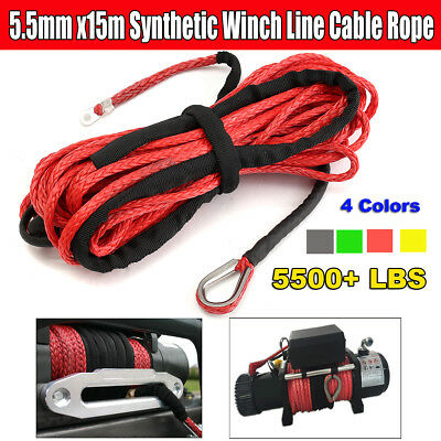 5.5mm X 15m Winch Line Rope Cable 5500+LBs + Sheath For ATV UTV Synthetic