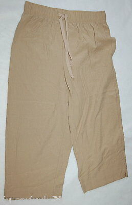 Womens Pants BEIGE CAPRIS Crinkle Fabric ELASTIC WAIST No Pockets SIZE S 4-6
