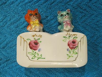 Vintage Nodder Cat Kitten Salt And Pepper Shakers Patent T.t. Free Shipping!