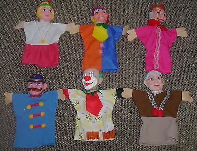 Lot 6 Mr Rogers Neighborhood Hand Puppets King Queen Clown Jester Granny Police