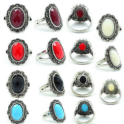 Wholesale Lot 5 Vintage Fashion Jewelry Silver Ptd Multicolor Oval Resin Ring