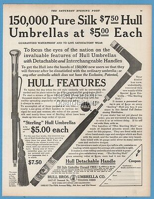 1911 Hull Brothers Umbrella Company Toledo OH detachable handle silk ad