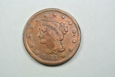 1843 Braided Hair Large One Cent, Cleaned Fine - C2643