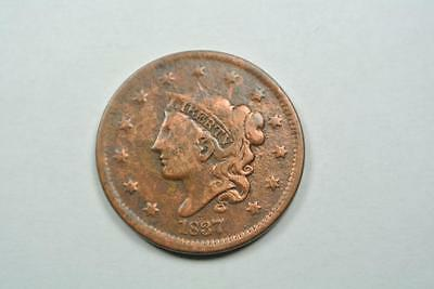 1837 Coronet Head Large One Cent, VF Details - C2637