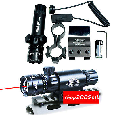 Hunting Red Dot laser Sight &Remote Switch&2 Mounts For Gun Rifle Scope