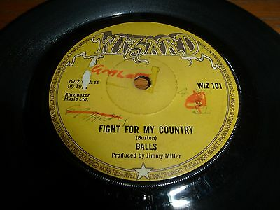 Balls..fight For My Country..rare Psych 45. Uk 1St Issue Wizard Wiz 101
