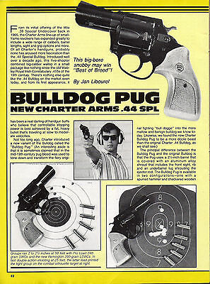 Charter Arms Bulldog Pug .44 Revolver 1986 2-page Evaluation Article