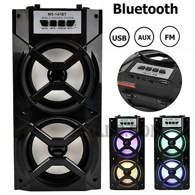 Bluetooth LED USB AUX TF FM Radio Stereo Audio Portable Outdoor Wireless Speaker