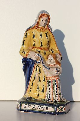 SAINTE-ANNE EN FAIENCE DE QUIMPER - HENRIOT FRANCE 76 - H. 22 cm