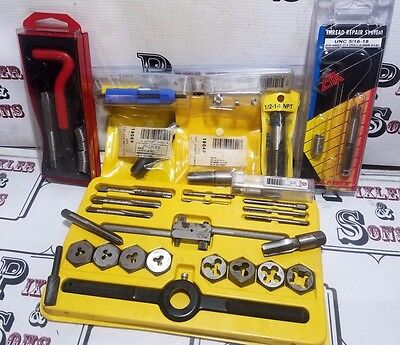 HANSON TAP & DIE SET 6-32 to 1/2-13 W/ HELICOIL INSERT SETS & EXTRA PIPE TAPS