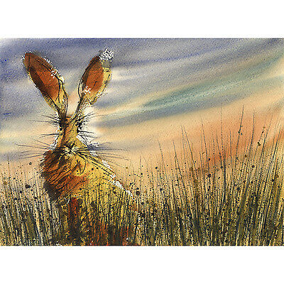 VALENTINES BUNNY RABBIT ART PRINT from watercolour painting gift large A3+