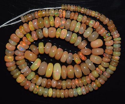 """16"""" Stunning Natural Ethiopian Welo Fire Opal Smooth Rondelle Beads EB1603"""
