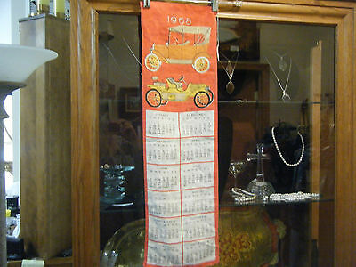 REDUCED Vintage Vera Linen Kitchen Calendar Wall Hanging 1968 Antique Cars