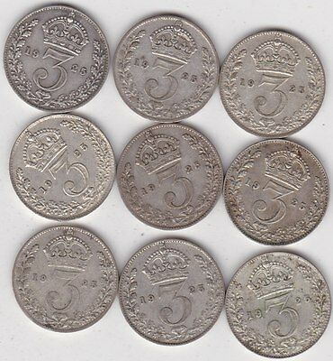 Nine Key Date 1925 Silver Threepences In Good Fine Or Better Condition