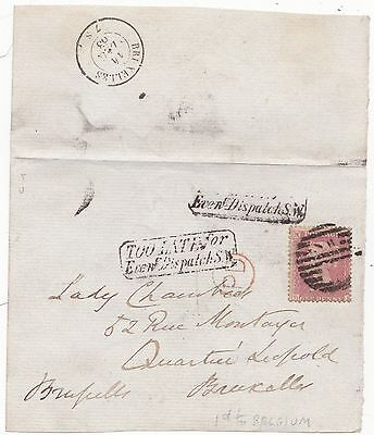 1863 1d STAR PART WRAPPER TO BELGIUM FRAMED TOO LATE FOR EVENg DISPATCH S.W.