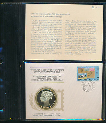 Cayman Islands: 1976 First Postage Stamps QV Large Silver Medal PNC (Weight 20g)