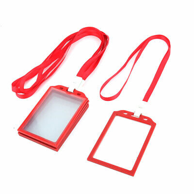 Office   Neck String Lanyard Vertical ID Card Holder Case Red 5 Pcs