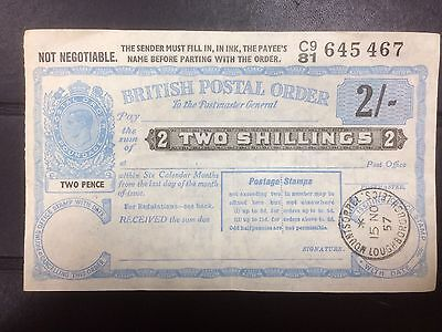 Great Britain.George VI, Two Shillings  Postal Order, 1957