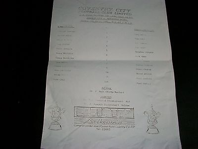 COVENTRY CITY v MANCHESTER UNITED  YOUTH CUP  SEMI FINAL 1986 POST FREE