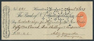 Bermuda: 1937 Bank of N.T. Butterfield & Son. RARE Cheque FAMOUS ASTOR HOUSE
